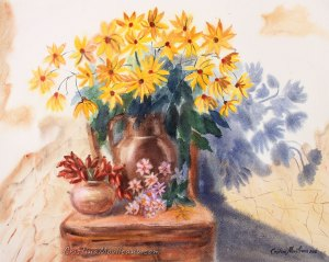 Artichoke yellow flowers and chair in a sunny day, still life watercolor painting by Cristina Movileanu