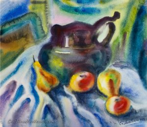 Black Jar watercolor painting with apples and pears by Cristina Movileanu