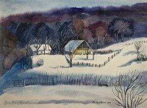 january winter watercolor painting Cristina Movileanu