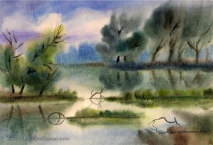 ponds, water, wet-on-wet, art, artistic, watercolor, painting, Cristina Movileanu