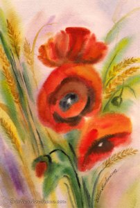 Red Poppies & Wheat in the field wet on wet watercolor painting by Cristina Movileanu