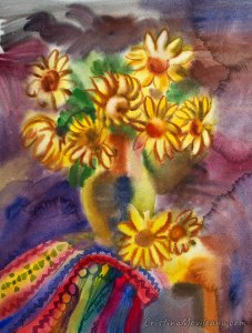 Bouguet with yellow flowers and colorful carpet still life watercolor painting by Cristina Movileanu