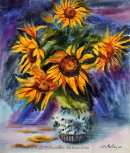 Sunflower bouquet in a vase on a blue bold background still life watercolor painting by Cristina Movileanu