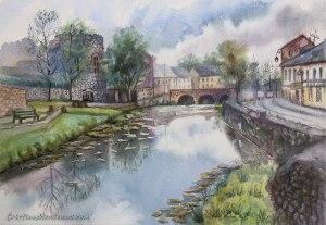 The Bridge, NewCastleWest, landscape, art, artistic, watercolor, painting, Cristina Movileanu