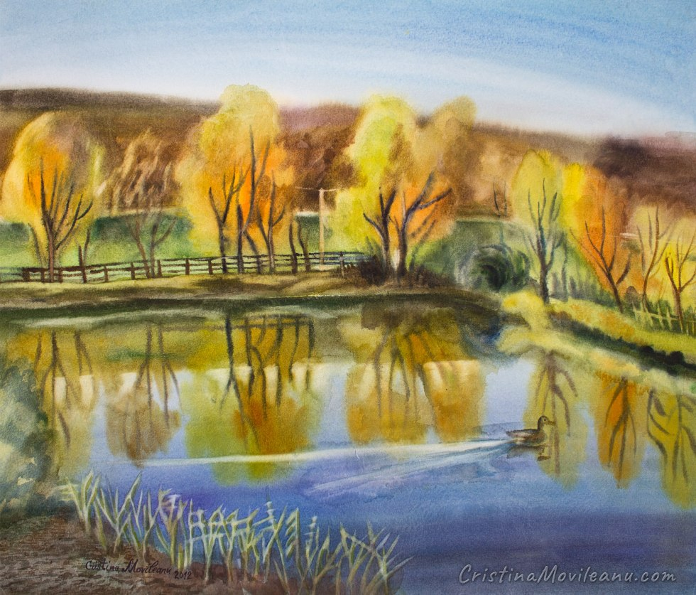 fall, autumn, lake, pond, water, trees reflections, landscape, art, artistic, watercolor, painting, Cristina Movileanu