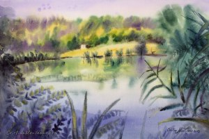 The pond mirror, lake, painting, art, artistic, landscape, watercolor, painting, Cristina Movileanu