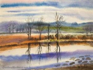 river, Olt, landscape, trees, shore, art, artistic, watercolor, painting, Cristina Movileanu
