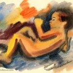 Colorful watercolor sketch of my baby sleeping
