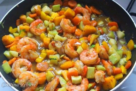 légumes-crevettes