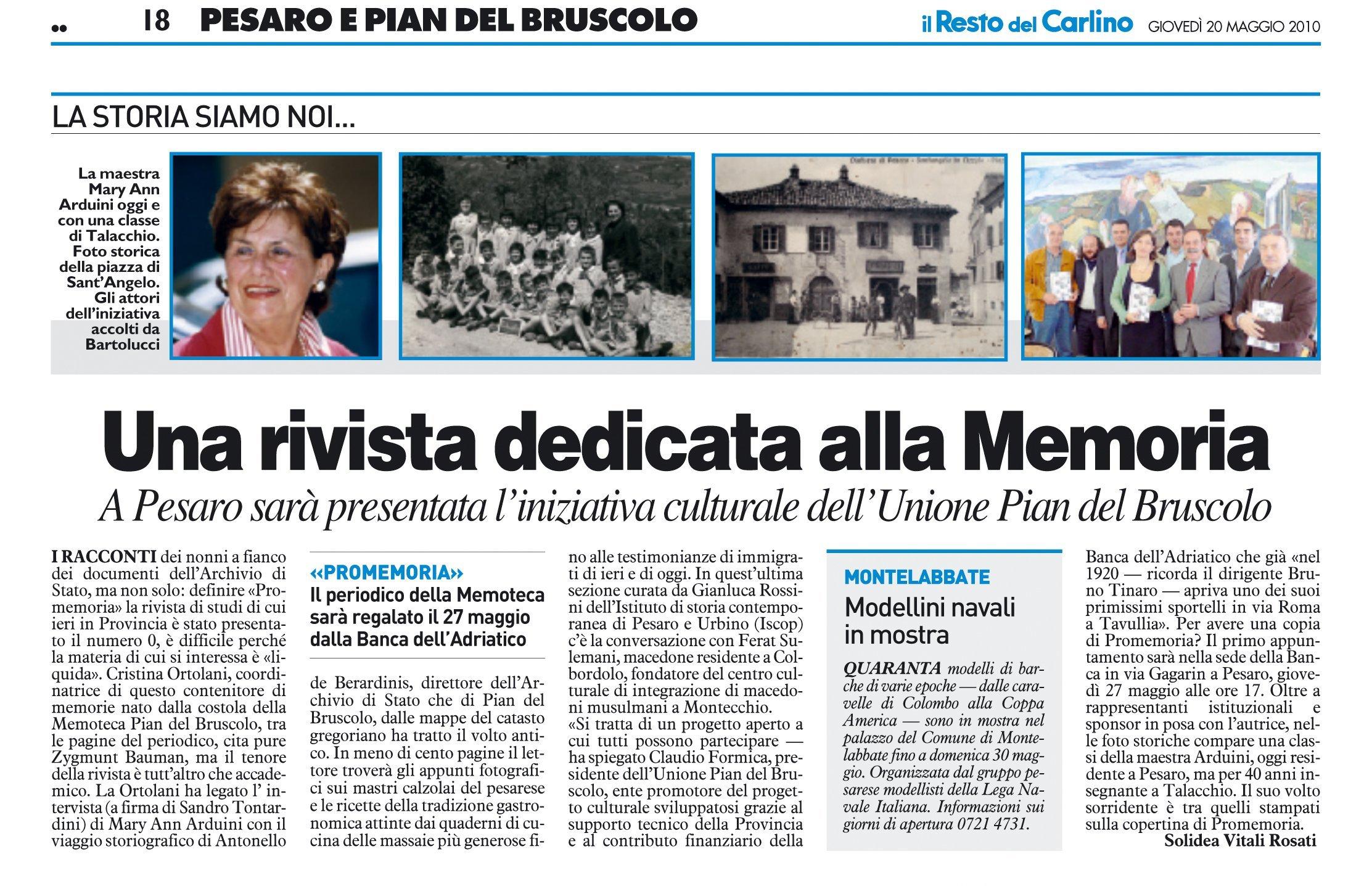 """""""Il Resto del Carlino"""" Pesaro, 20 maggio 2010"""