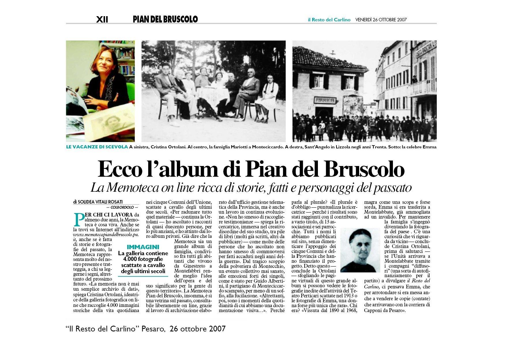 """""""Il Resto del Carlino"""" Pesaro, 26 ottobre 2007"""