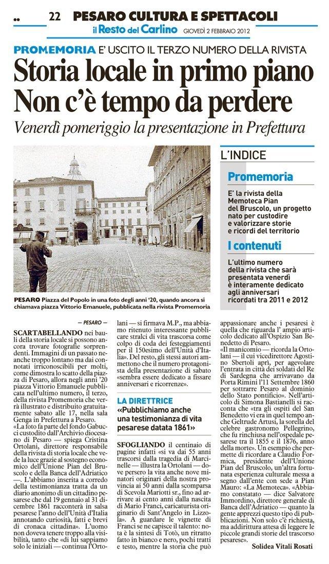 """""""Il Resto del Carlino"""" Pesaro, 2 febbraio 2012"""