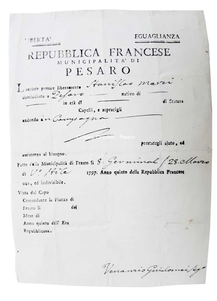 Repubblica Francese, Municipalità di Pesaro. Lasciapassare, 1797 (collezione Cristina Ortolani)