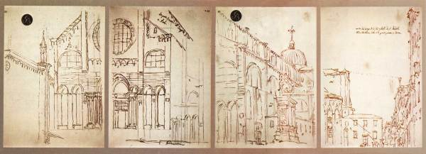 Four drawings by Canaletto, representing Campo San Giovanni e Paolo in Venice, obtained with a camera obscura (Venice, Gallerie dell'Accademia)