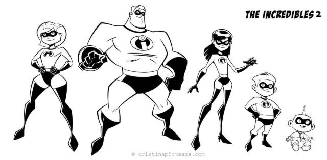 Incredibles 29 Coloring Pages – Drawing sheets for painting