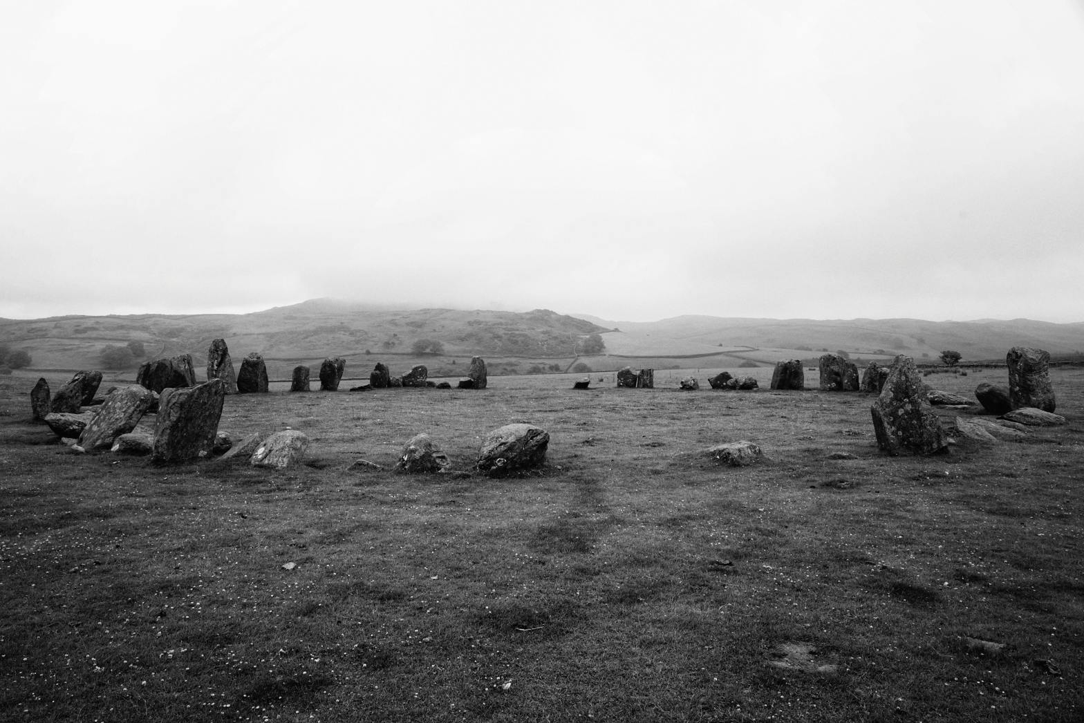 Ring of ancient stones in a field