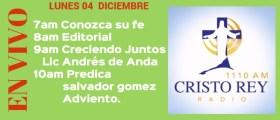 Cristo Rey Radio En Vivo Martes 05 Diciembre 7am a 11am