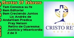 Cristo Rey Radio En Vivo  Mart 27 Febrero 7am a 11am
