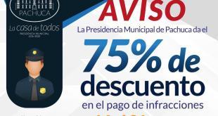Anuncian descuentos del 75% por multas en Pachuca