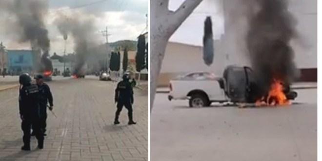 Queman autos y vandalizan alcaldía en Amozoc, Puebla