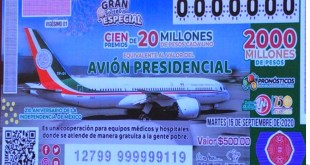 Hoy es la rifa del valor del avión presidencial en la Lotería Nacional