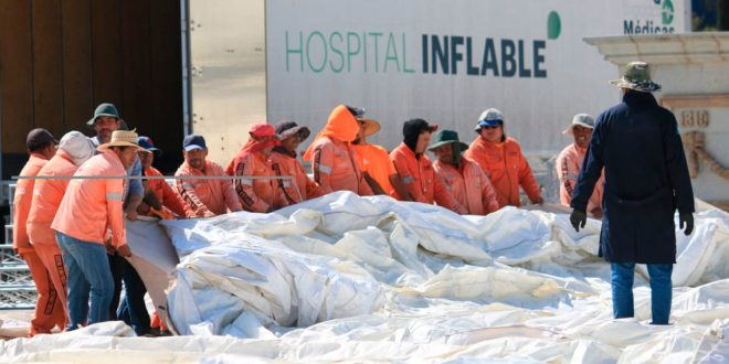 ¡Prevención ante coronavirus! Ya instalan el hospital inflable en Pachuca