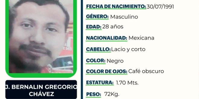 Se busca a a J. Bernalin Gregorio Chávez, desapareció en Zacualtipán