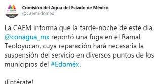Suspenden suministro de agua en Estado de México