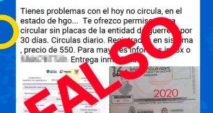 Advierten sobre permisos falsos para evitar Hoy no Circula en Hidalgo