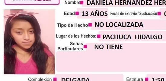 Se busca a Daniela Hernández Hernández, extraviada en Pachuca