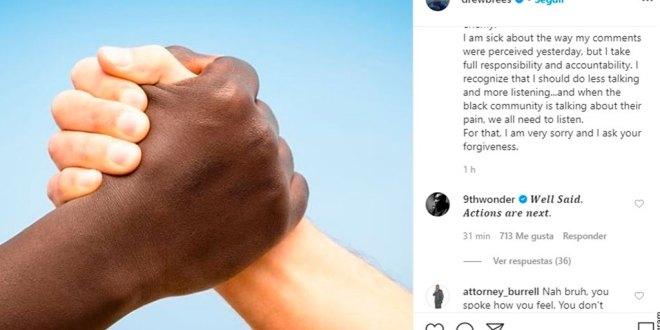 Se disculpa el quarterback Drew Brees por declaraciones