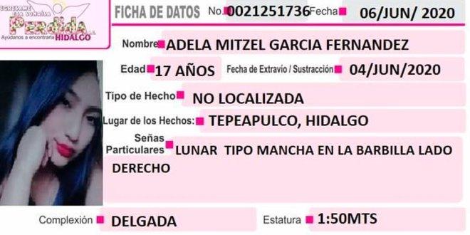 Adela Mitzel García desapareció Tepeapulco
