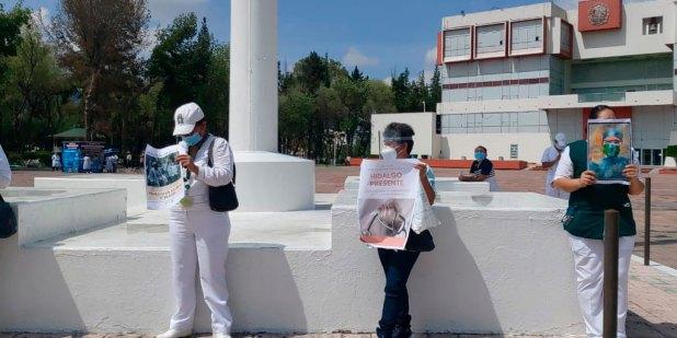 Personal Salud manifiesta plaza Juárez Pachuca