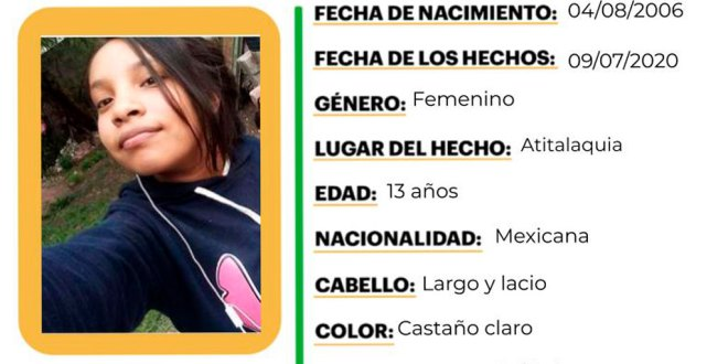 Piden ayuda para localizar a Paola Sáenz extravió Atitalaquia