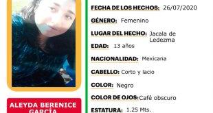 Buscan Berenice García extravió Jacala