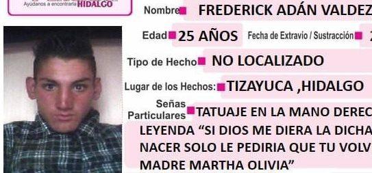 Se busca a Frederick Adán Valdez Casas, extraviado en Tizayuca