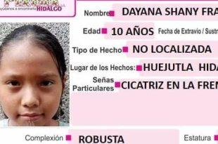 Se busca Dayana Shany Francisco Hérnández, extraviada en Huejutla