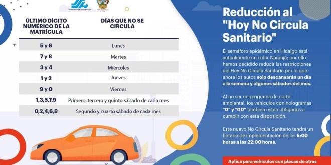 vehículos no circulan sábado Hidalgo