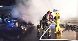 cortocircuito se incendia automóvil Pachuca