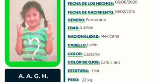 Se busca a A. A. G. H., sustraída de su domicilio, en Pachuca