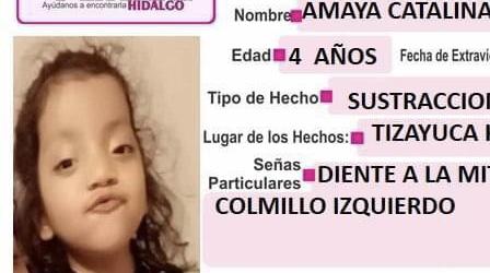 Buscan a Catalina Martínez, de 4 años; sustraída por padre en Tizayuca