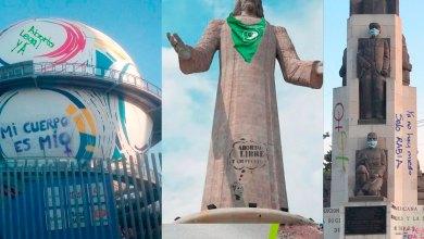 Feministas pintas virtuales monumentos Hidalgo