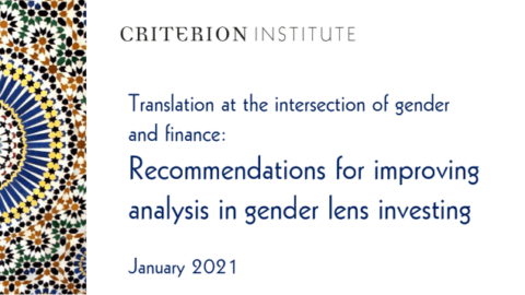 Translation at the intersection of gender and finance: Recommendations for improving analysis in gender lens investing
