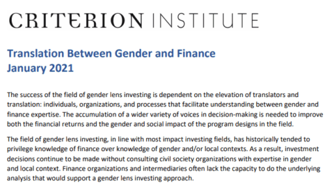 Translation Between Gender and Finance