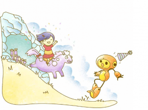 A happy friend races toward an startled Robot on her pony