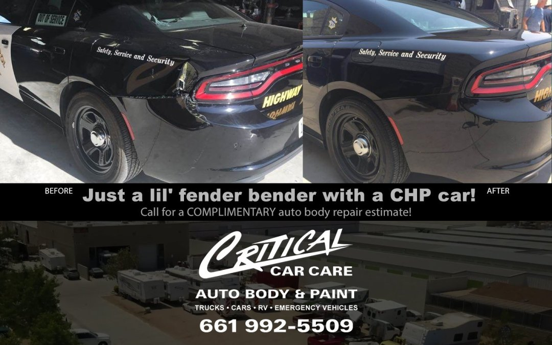 Before & After a lil' fender bender on a local CHP car!