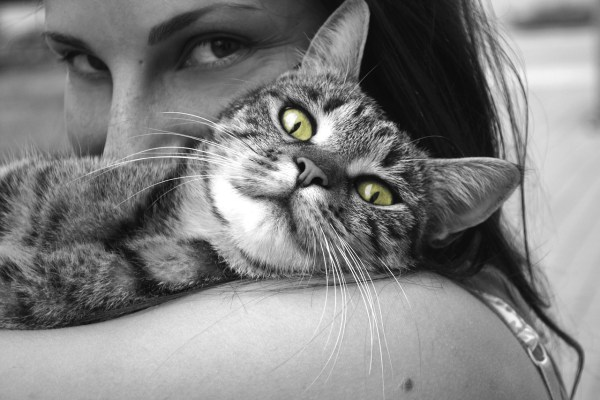 black and white lady cuddling cat