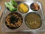 fresh vegetables, mixed rice with vegetables, egg, tuna, seaweed mushroom soup