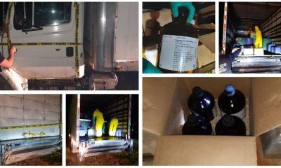 En el interior del camión fueron localizados toneles con químicos que se presume son utilizados para la fabricación de droga. (Foto: MP)