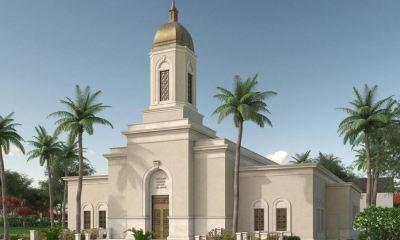 Esta imagen representa el diseño que tendrá el templo mormón de la Iglesia de Jesucristo de los Santos de los Últimos Días, en Cobán. (Foto: Cortesía)